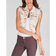 TINSELTOWN Floral Womens Cutoff Denim Vest