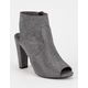 DELICIOUS Peep Toe Womens Heeled Booties