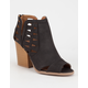 QUPID Cut Out Peep Toe Womens Booties