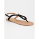 QUPID Curved T Strap Womens Sandals