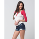 ZCO Embroidered Floral Womens High Waisted Denim Shorts