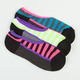 FULL TILT 3 Pack Multi-stripe Womens No Show Socks