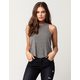 BOZZOLO Rib High Neck Heather Grey Womens Tank Top