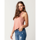 BOZZOLO Rib High Neck Peach Womens Tank Top