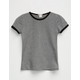 BOZZOLO Solid Girls Ringer Tee