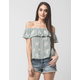 FULL TILT Embroidered Off The Shoulder Womens Top