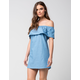LOVE FIRE Off The Shoulder Chambray Dress