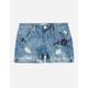 ALMOST FAMOUS Embroidered Destructed Girls Denim Shorts