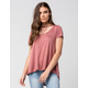 BLU PEPPER Strappy Cutout Womens Tee