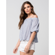 POLLY & ESTHER Striped Off The Shoulder Top