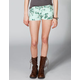 CELEBRITY PINK Floral Womens Cutoff Denim Shorts