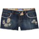 KARMA BLUE Floral Womens Denim Cutoff Shorts