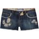 KARMA BLUE Floral Womens Denim Cutoff Shorts
