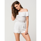 LOVE FIRE Striped Off The Shoulder Womens Romper