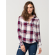 POLLY & ESTHER Lace Up Womens Plaid Shirt