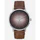 NIXON Porter Leather Silver & Brown Watch