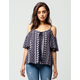 PATRONS OF PEACE Floral Medallion Womens Cold Shoulder Top
