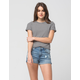 RSQ Denim Womens Mom High Waisted Ripped Shorts