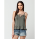 FULL TILT Lace Up Peplum Womens Tank