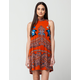 ANGIE Boho Border Print Dress
