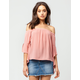 POLLY & ESTHER High Low Bell Sleeve Womens Top