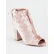 QUPID Crushed Velvet Peep Toe Womens Heels