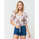 SOCIALITE Floral Womens Tie Front Top