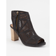 QUPID Perforated Womens Heeled Booties