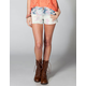 TINSELTOWN Floral Womens Cutoff Denim Shorts