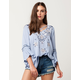 BLU PEPPER Embroidered Bell Sleeve Womens Top