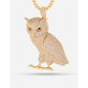 KING ICE 14K Gold Owl Necklace