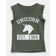 FULL TILT Unicorn Ruffle Girls Tank