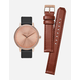 NIXON Kensington Leather Rose Gold Watch Pack