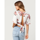 POLLY & ESTHER Floral Tie Back Womens Top