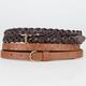 2 Pack Stud/Braid Womens Skinny Belts