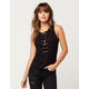 SKY AND SPARROW Grommet Lace Up Womens Tank