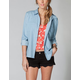 FULL TILT Crochet Lace Back Womens Chambray Shirt