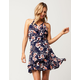 LOVE FIRE Floral Surplice Dress