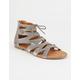 YOKI Velvet Lace Up Womens Gladiator Sandals