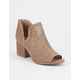 QUPID Perforated Peep Toe Womens Booties