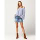 VANILLA STAR Frayed Denim Mini Skirt