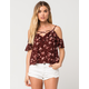 CHLOE & KATIE Floral Ruffle Womens Cold Shoulder Top