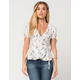 HONEY PUNCH Floral Ruffle Womens Wrap Top