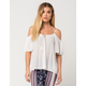 PATRONS OF PEACE Tassel Womens Cold Shoulder Top