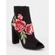 WILD DIVA Rose Embroidered Peep Toe Womens Heeled Booties