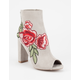 WILD DIVA Rose Embroidered Peep Toe Womens Heeled Booties
