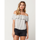 SOCIALITE Striped Flounce Womens Off The Shoulder Top