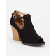 QUPID Peep Toe Ankle Strap Womens Heeled Booties