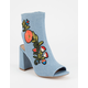 DELICIOUS Embroidered Denim Womens Heeled Boots