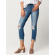 SKY AND SPARROW Fray Ankle Womens Ripped Skinny Jeans
